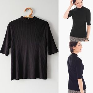 Chicos Black Label Mock Neck Ribbed Top Size 3